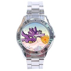 The Wee Purple Dragon Flying Stainless Steel Watch