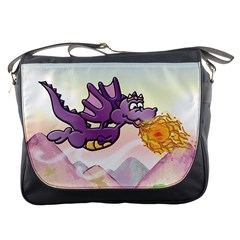 The Wee Purple Dragon Flying Messenger Bag