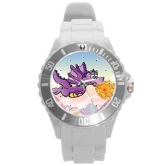 The Wee Purple Dragon Flying Plastic Sport Watch (Large)