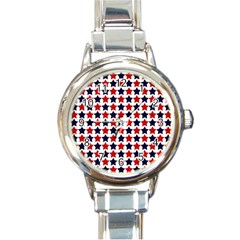 Patriot Stars Round Italian Charm Watch