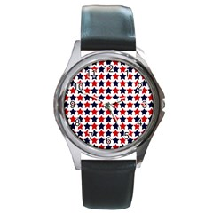 Patriot Stars Round Leather Watch (Silver Rim)