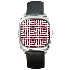 Patriot Stars Square Leather Watch