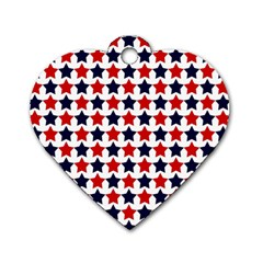 Patriot Stars Dog Tag Heart (One Sided)