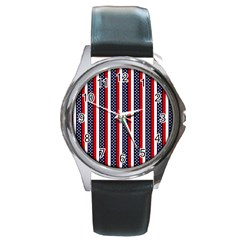 Patriot Stripes Round Leather Watch (Silver Rim)