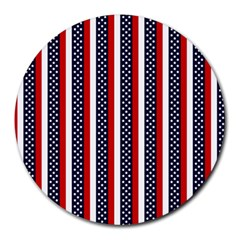 Patriot Stripes 8  Mouse Pad (Round)