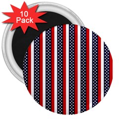 Patriot Stripes 3  Button Magnet (10 Pack)