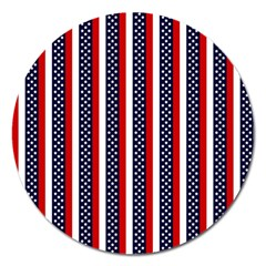 Patriot Stripes Magnet 5  (Round)