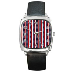 Patriot Stripes Square Leather Watch