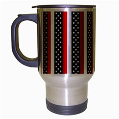Patriot Stripes Travel Mug (Silver Gray)