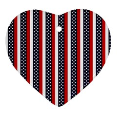 Patriot Stripes Heart Ornament (Two Sides)