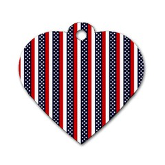 Patriot Stripes Dog Tag Heart (Two Sided)