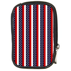 Patriot Stripes Compact Camera Leather Case