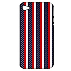 Patriot Stripes Apple iPhone 4/4S Hardshell Case (PC+Silicone)