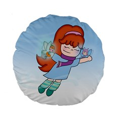Fairy Flight 15  Premium Round Cushion