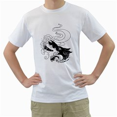 Party Wolf Men s T Shirt (white)