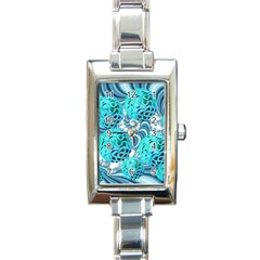 Teal Sea Forest, Abstract Underwater Ocean Rectangular Italian Charm Watch