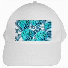 Teal Sea Forest, Abstract Underwater Ocean White Baseball Cap