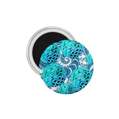 Teal Sea Forest, Abstract Underwater Ocean 1.75  Button Magnet