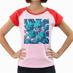 Teal Sea Forest, Abstract Underwater Ocean Women s Cap Sleeve T Shirt (colored)