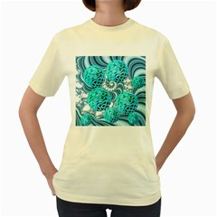 Teal Sea Forest, Abstract Underwater Ocean Women s T-shirt (Yellow)