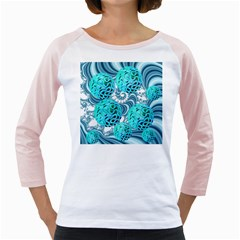 Teal Sea Forest, Abstract Underwater Ocean Women s Long Cap Sleeve T-Shirt (White)