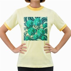 Teal Sea Forest, Abstract Underwater Ocean Women s Ringer T Shirt (colored)