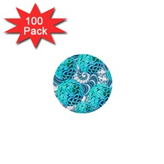 Teal Sea Forest, Abstract Underwater Ocean 1  Mini Button (100 Pack)