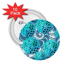 Teal Sea Forest, Abstract Underwater Ocean 2.25  Button (10 pack)