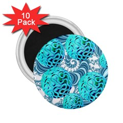 Teal Sea Forest, Abstract Underwater Ocean 2.25  Button Magnet (10 pack)