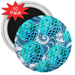 Teal Sea Forest, Abstract Underwater Ocean 3  Button Magnet (10 Pack)