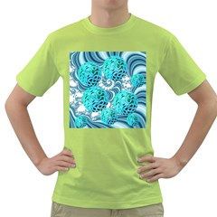 Teal Sea Forest, Abstract Underwater Ocean Men s T-shirt (Green)