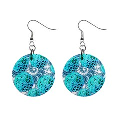 Teal Sea Forest, Abstract Underwater Ocean Mini Button Earrings
