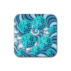 Teal Sea Forest, Abstract Underwater Ocean Drink Coasters 4 Pack (square)