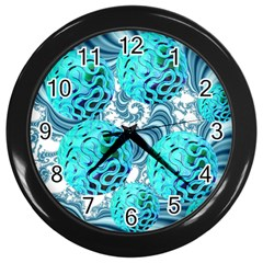 Teal Sea Forest, Abstract Underwater Ocean Wall Clock (black)
