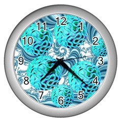 Teal Sea Forest, Abstract Underwater Ocean Wall Clock (Silver)