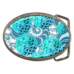 Teal Sea Forest, Abstract Underwater Ocean Belt Buckle (Oval)