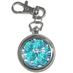 Teal Sea Forest, Abstract Underwater Ocean Key Chain Watch