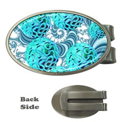 Teal Sea Forest, Abstract Underwater Ocean Money Clip (Oval)