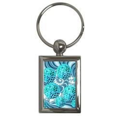 Teal Sea Forest, Abstract Underwater Ocean Key Chain (Rectangle)