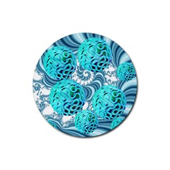 Teal Sea Forest, Abstract Underwater Ocean Drink Coaster (Round)