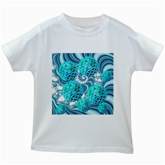 Teal Sea Forest, Abstract Underwater Ocean Kids T-shirt (White)