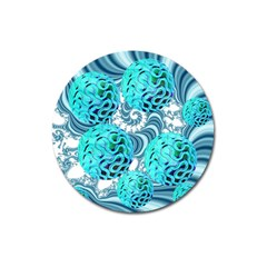 Teal Sea Forest, Abstract Underwater Ocean Magnet 3  (Round)