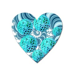 Teal Sea Forest, Abstract Underwater Ocean Magnet (heart)