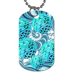 Teal Sea Forest, Abstract Underwater Ocean Dog Tag (One Sided)