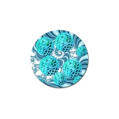 Teal Sea Forest, Abstract Underwater Ocean Golf Ball Marker 4 Pack