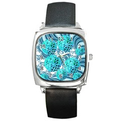 Teal Sea Forest, Abstract Underwater Ocean Square Leather Watch