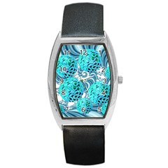 Teal Sea Forest, Abstract Underwater Ocean Tonneau Leather Watch