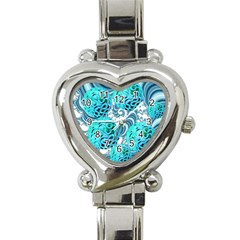 Teal Sea Forest, Abstract Underwater Ocean Heart Italian Charm Watch