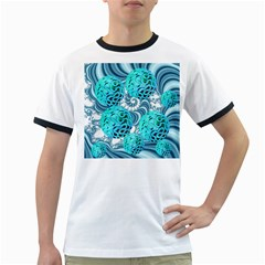 Teal Sea Forest, Abstract Underwater Ocean Men s Ringer T Shirt