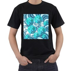 Teal Sea Forest, Abstract Underwater Ocean Men s Two Sided T-shirt (Black)
